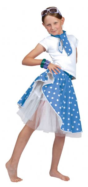 Girls Rock 'N' Roll Skirt Costume Rockabilly 60s Vintage Fancy Dress Outfit